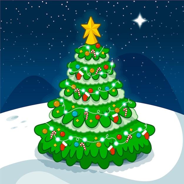 Schöner 2d weihnachtsbaum Kostenlosen Vektoren