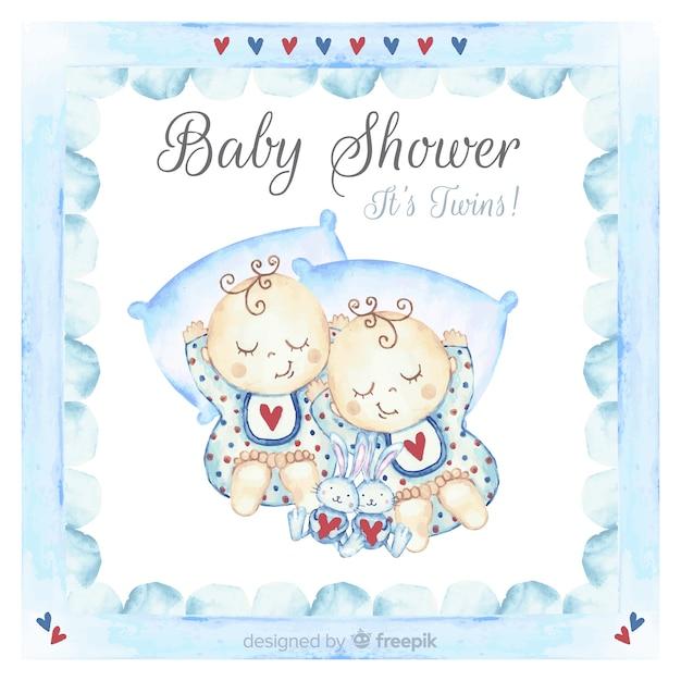Schöner aquarell-babypartyentwurf Kostenlosen Vektoren