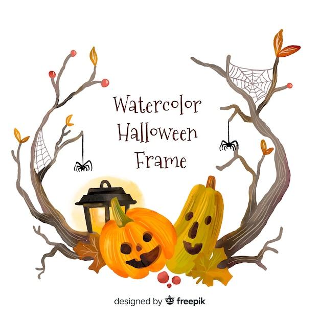 Schöner aquarell halloween-rahmen Kostenlosen Vektoren