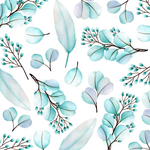 Schöner aquarellblumenmusterhintergrund Premium Vektoren