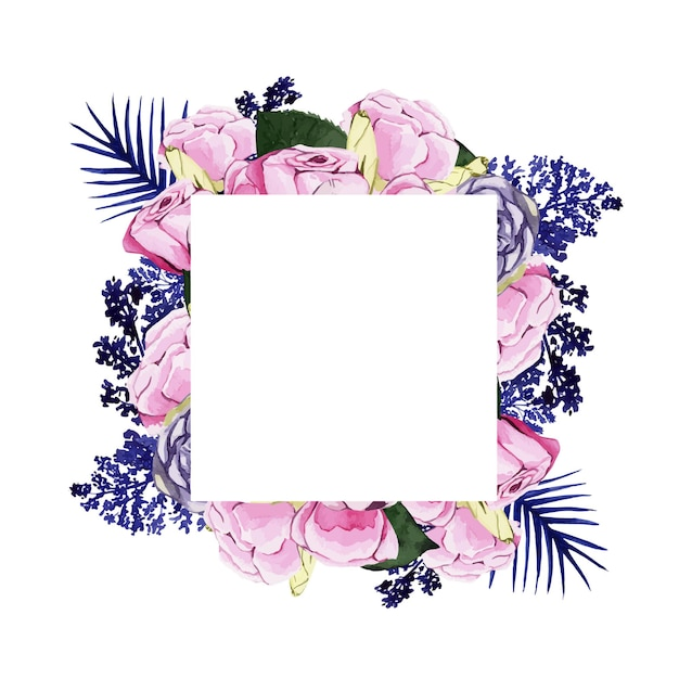 Schöner aquarellrahmen mit rosa und blauen blumen Premium Vektoren