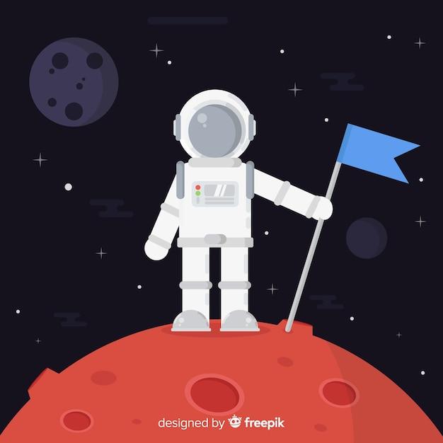 Schöner astronautencharakter mit flachem design Kostenlosen Vektoren