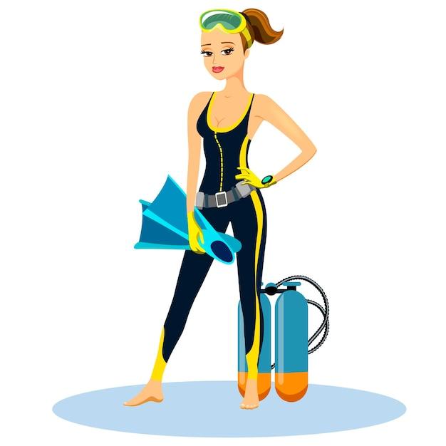 Schöner athletischer junger taucher, der einen neoprenanzug mit flossen und einer aqualung trägt Kostenlosen Vektoren