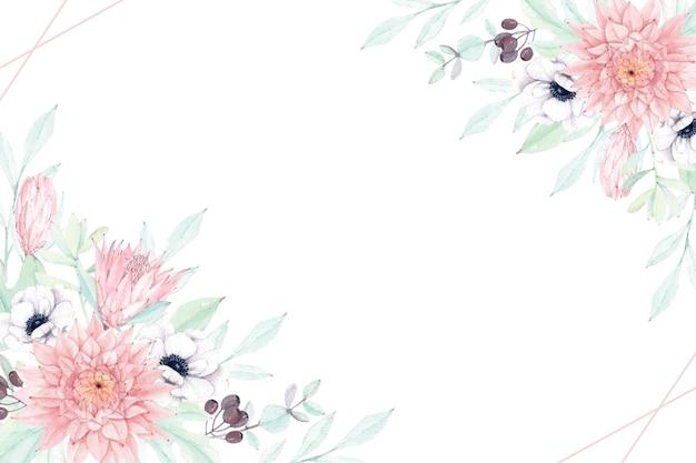 Schöner blumenrahmen mit weicher dahlie, anemone und protea Premium Vektoren