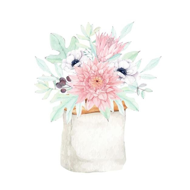 Schöner dahlienblumenstrauß mit protea und anemonenblume Premium Vektoren