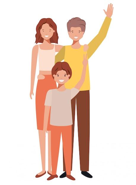 Schöner familienavataracharakter Premium Vektoren