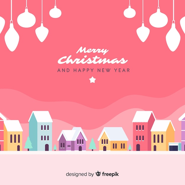 Schöner flacher weihnachtsstadthintergrund Kostenlosen Vektoren