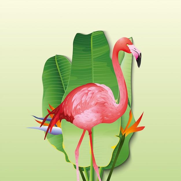 Schöner flamingo mit dekorativen bananenblättern Premium Vektoren