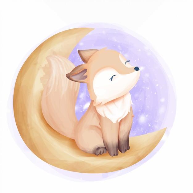 Schöner foxy auf dem mond Premium Vektoren