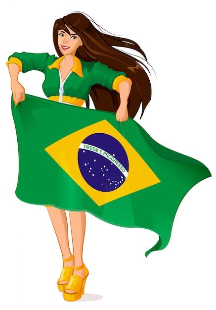 Schöner frauenfan, der brasilianische flagge hält Premium Vektoren