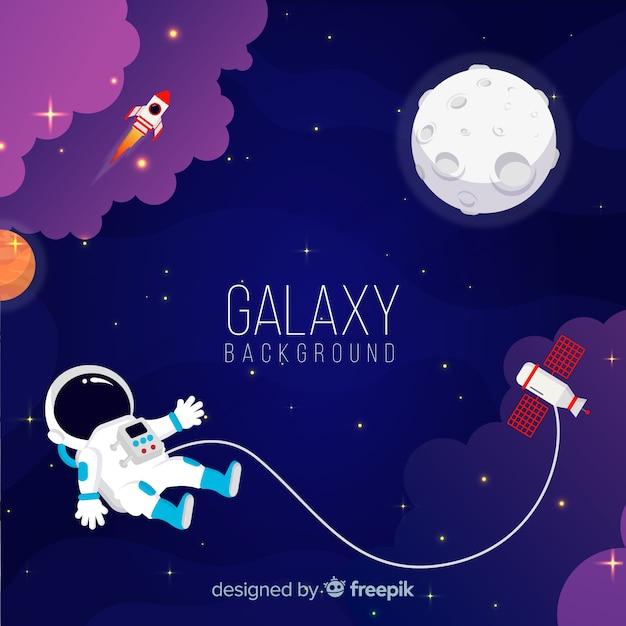Schöner galaxiehintergrund mit flachem design Kostenlosen Vektoren