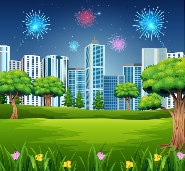 Schöner garten mit stadtbildgebäude und feuerwerkshintergrund Premium Vektoren