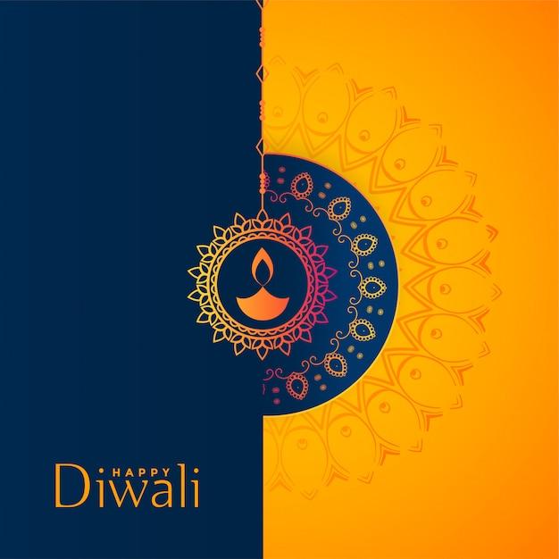 Schöner gelber und blauer glücklicher diwali festivalhintergrund Kostenlosen Vektoren