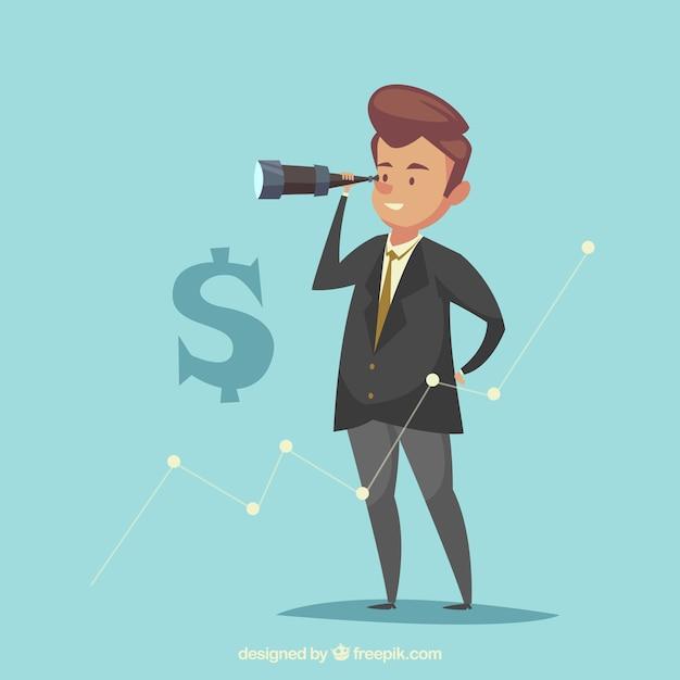 Schöner geschäftsmann auf der suche nach besseren möglichkeiten Kostenlosen Vektoren