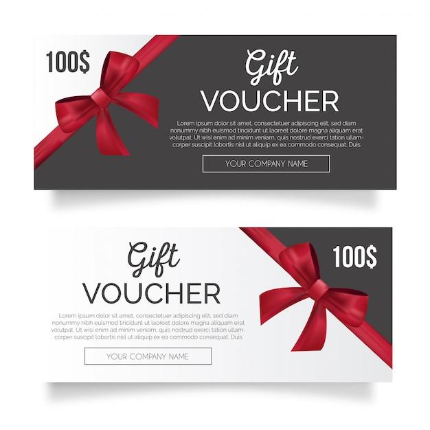 Schöner geschenkgutschein mit roter schleife Kostenlosen Vektoren