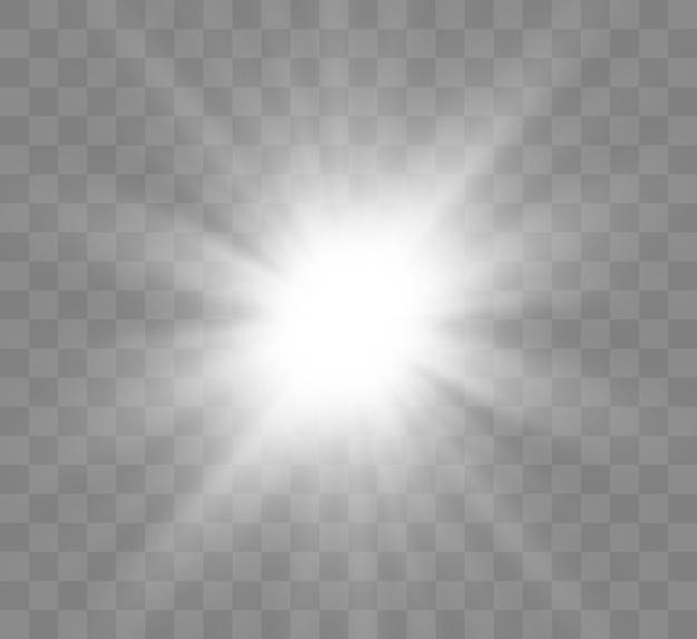 Schöner heller magischer aufgehender stern mit hellen strahlen. flackernde lichtgrafiken. Premium Vektoren
