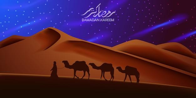 Schöner hintergrund auf der wüste mit dem schattenbildkamel, das nachts reist Premium Vektoren