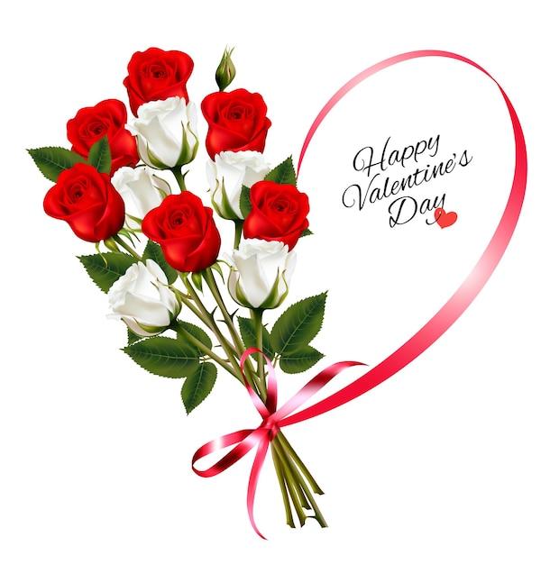 Schöner hintergrund des glücklichen valentinstags mit rosen und rotem band Premium Vektoren