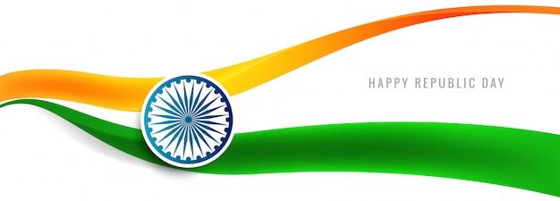 Schöner indischer flaggenwellen-fahnenvektor Kostenlosen Vektoren