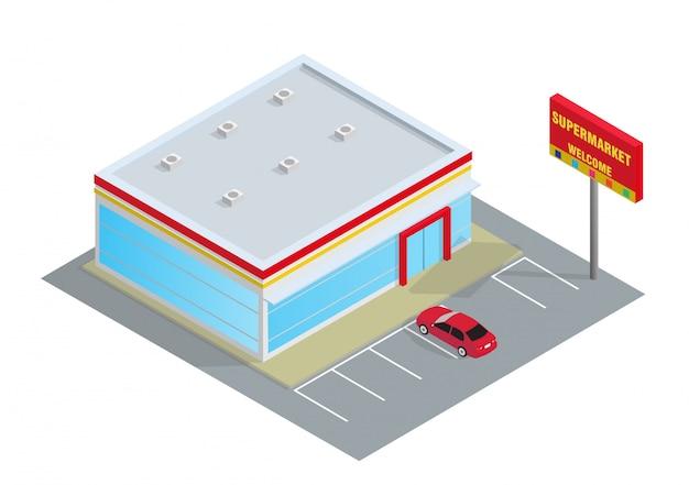Schöner isometrischer supermarkt Premium Vektoren