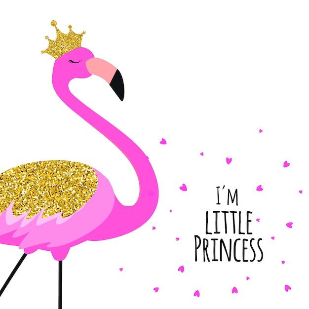Schöner kleiner flamingo prinzessin-pink in der goldenen krone. Premium Vektoren