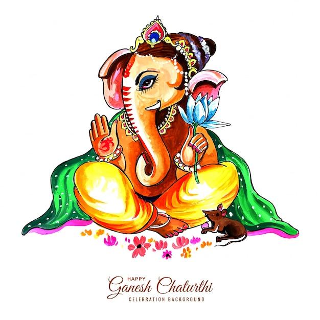 Schöner lord ganesha für ganesh chaturthi kartenhintergrund Kostenlosen Vektoren
