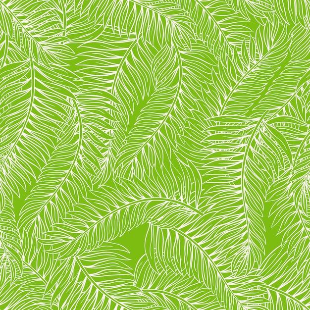 Schöner nahtloser grüner hintergrund des sommers mit palmblättern Premium Vektoren