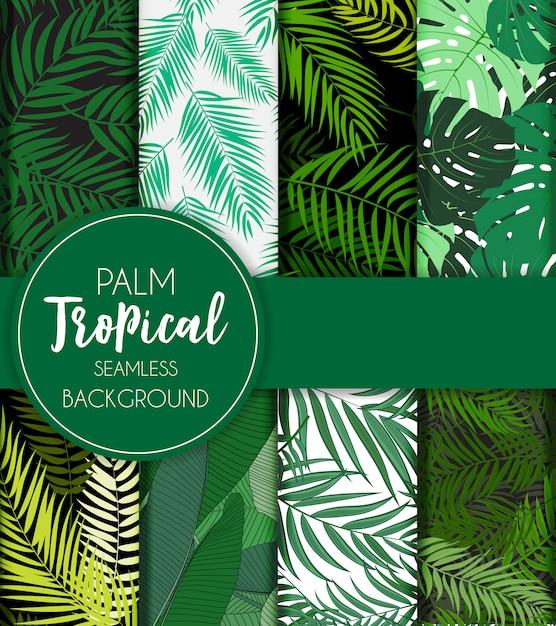 Schöner palme-blatt-schattenbild-nahtloser mustersatz Premium Vektoren