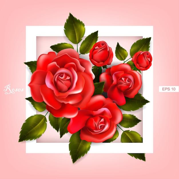 Schöner rahmen mit roten rosen und blättern. blumengesteck Premium Vektoren
