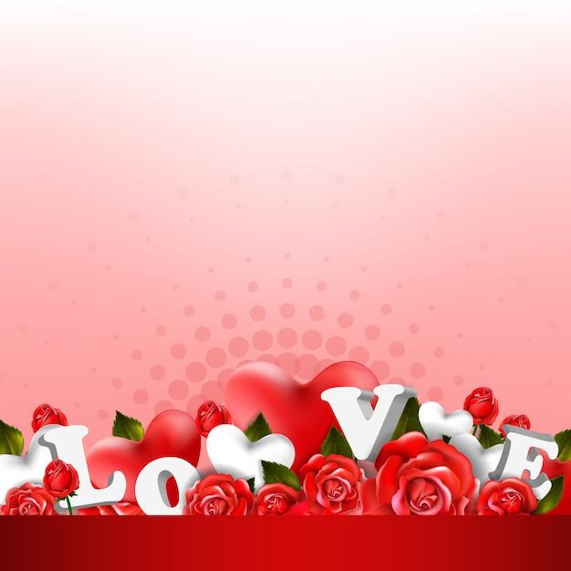 Schöner romantischer hintergrund mit roten rosen und blättern. blumengesteck design Premium Vektoren