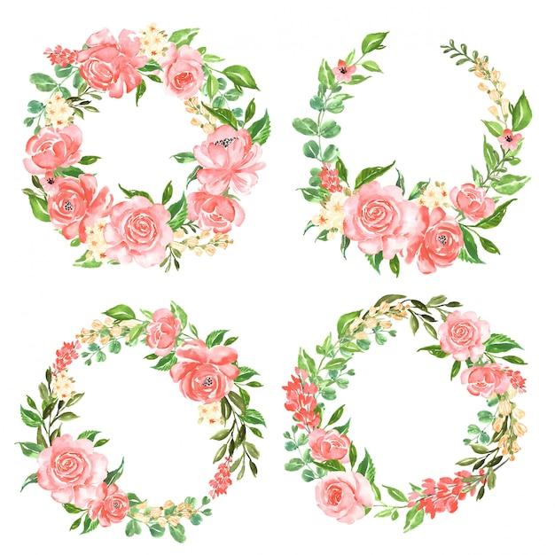 Schöner rosafarbener rosa aquarellsatz des blumenkranzes Premium Vektoren