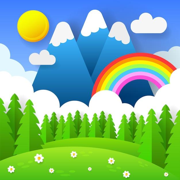 Schöner saisonhintergrund mit hellem regenbogen, blumen im gras. Premium Vektoren