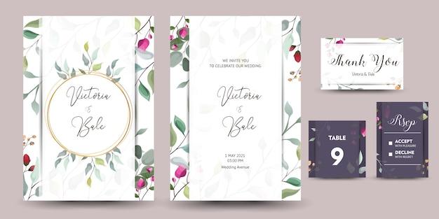 Schöner satz der dekorativen grußkarte oder einladung mit blumenmuster Premium Vektoren