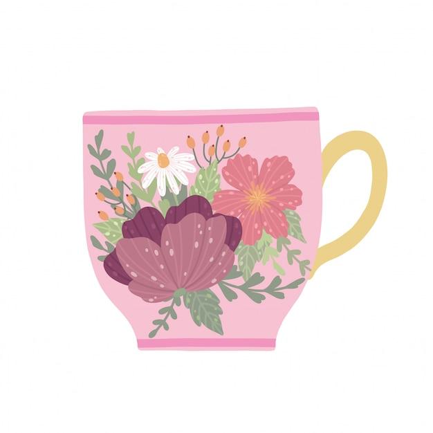 Schöner teetasse mit der blume und blättern lokalisiert auf weißem hintergrund. Premium Vektoren
