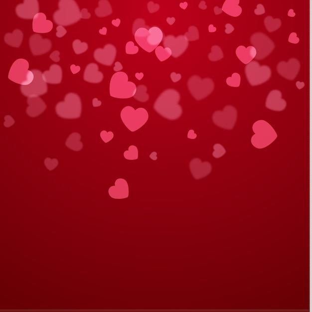 Schöner valentinsgrußherz-vektorhintergrund auf rot. Premium Vektoren