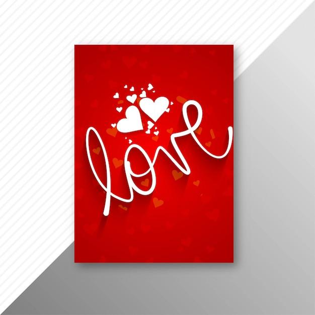 Schöner valentinstagkartenbroschüren-schablonenhintergrund Kostenlosen Vektoren