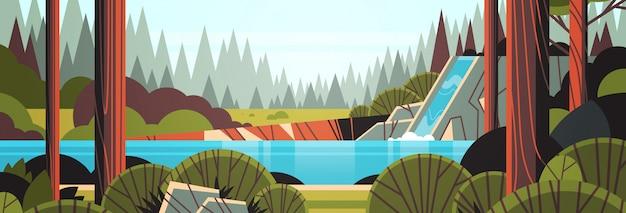 Schöner wasserfall über felsiger klippengrün-sommerwaldnaturlandschaft Premium Vektoren
