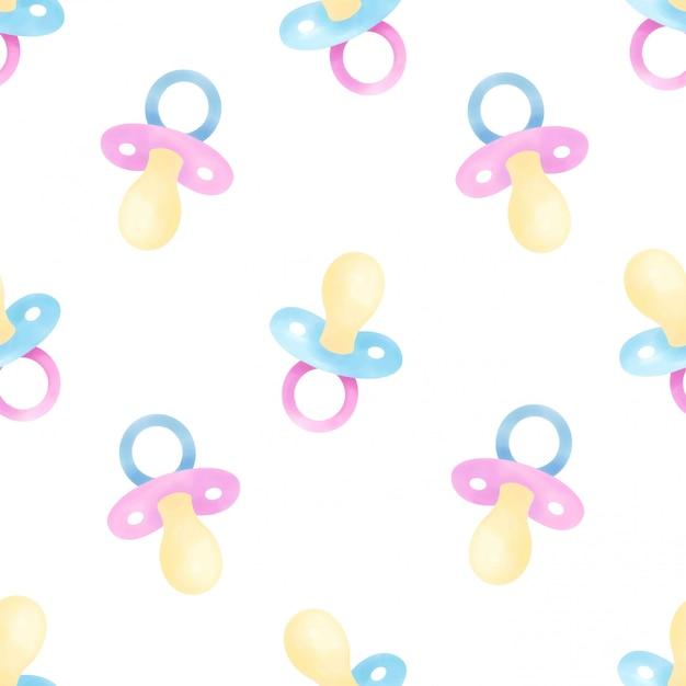 Schöner wasserfarben-baby-schnuller naht muster Premium Vektoren