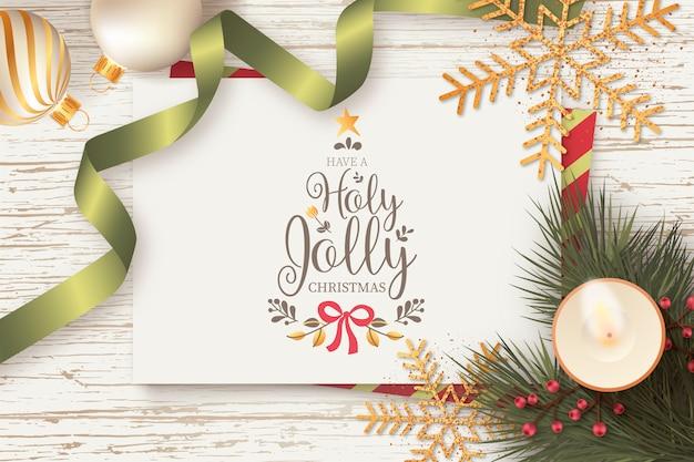 Schöner weihnachtshintergrund mit weihnachtskarten-schablone Kostenlosen Vektoren