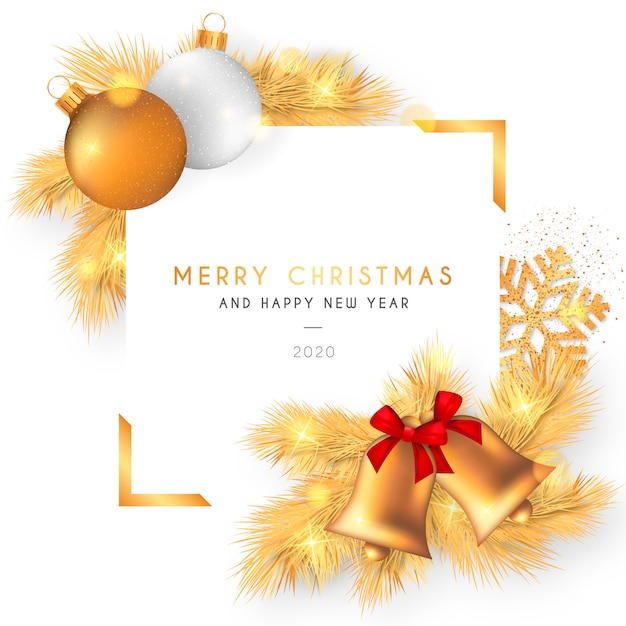 Schöner weihnachtsrahmen mit goldener dekoration Kostenlosen Vektoren