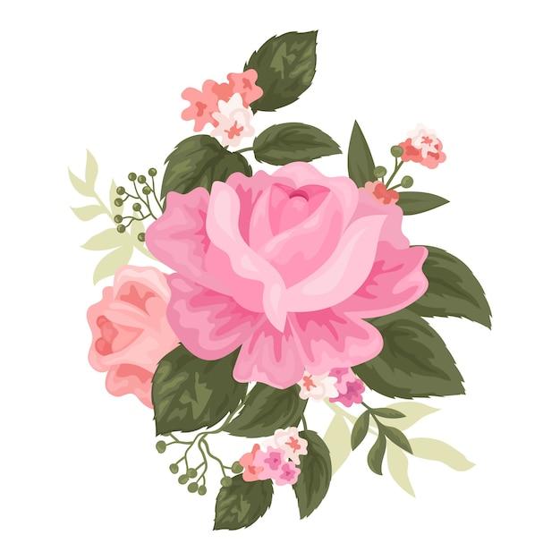 Schöner weinleseblumenstrauß Kostenlosen Vektoren