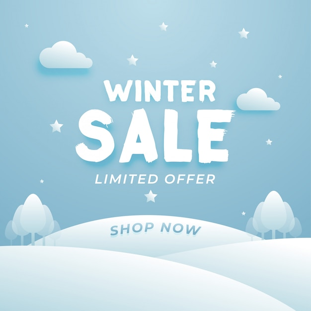 Schöner winterschlussverkauf-aufbau mit wolken und baum Premium Vektoren