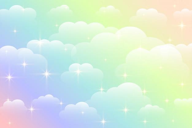Schöner wolkenhintergrund der verträumten regenbogenfarbe Kostenlosen Vektoren