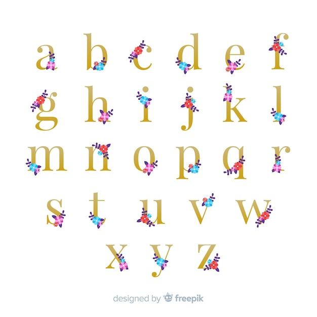 Schönes alphabet mit blumen Kostenlosen Vektoren