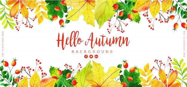 Schönes aquarell autumn leaves banner Premium Vektoren