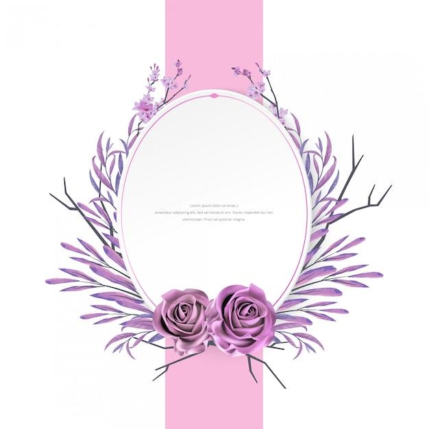 Schönes aquarell mit blumen- und rosenrahmen Premium Vektoren