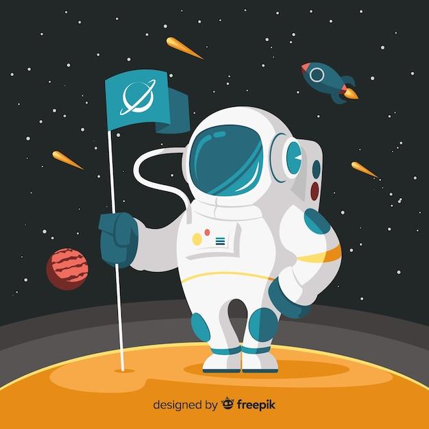Schönes astronautendesign Kostenlosen Vektoren