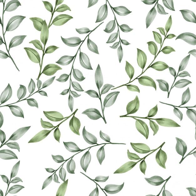 Schönes blumenblatt kopiert aquarellgrünblätter Premium Vektoren