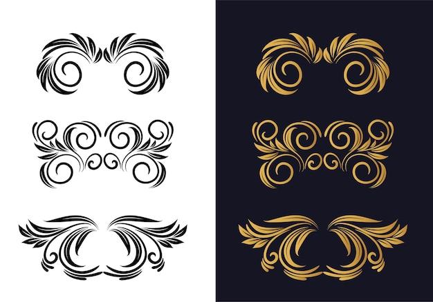 Schönes dekoratives blumendekorationsset Kostenlosen Vektoren