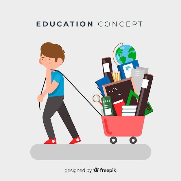 Schönes educaction-konzept mit flachem design Kostenlosen Vektoren